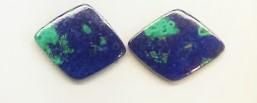 Azurite & Malachite diamond-shape doublet pair
